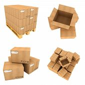 Set of Cardboard Boxes Isolated on White Background.