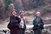Buddhist Monk And Two Gorkhas Peasant