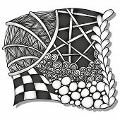 Abstract monochrome zentangle ornament