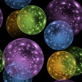 Seamless Colored Ball Pattern On Black