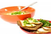Bowl Of Soup Cabbage Dish Sandwich Bread Bacon Onion