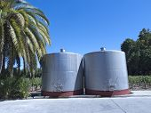 image of fermentation  - Some wine metallic fermentation tanks - JPG