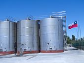 picture of fermentation  - Some wine metallic fermentation tanks - JPG