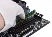 Electronic Collection - Installing Memory Module In Dimm Slot On Motherboard