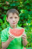 Little boy eating watermelon in the summer
