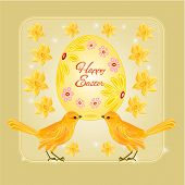 Gold Birds And Easter Eggs Vector