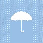 White umbrella symbol on blue background. Background with rain pattern.Label design