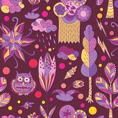 Purple spring vector pattern with forest