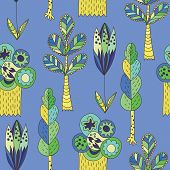 Blue vector children pattern with trees