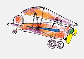 pensil drawn of the airplane.vector illustration