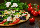 Delicious Vegetarian Pizza With Mushrooms