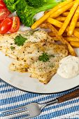 picture of catfish  - Fried Catfish fillet with vegetables - JPG