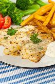 foto of catfish  - Fried Catfish fillet with vegetables - JPG