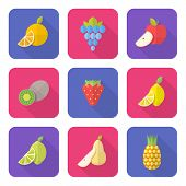 Flat Style Various Fruits Icons.