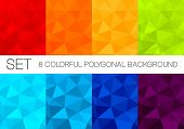 stock photo of polygon  - Set of polygonal vector backgrounds in rainbow colorset of colorful polygonal vector backgrounds - JPG