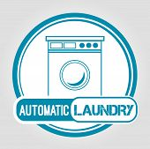 picture of dirty-laundry  - Icon Automatic laundry in blue with washing machine - JPG