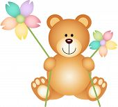 Cartoon Teddy Bear with flowers