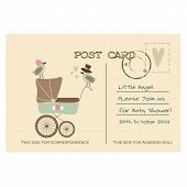 Vintage Cute Baby Shower Greeting Postcard, Invitation