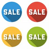 Collection Of 4 Isolated Flat Colorful Buttons For Sale