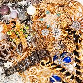Jewelry background. Fashion luxury jewelry from yellow and white gold