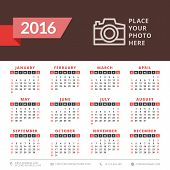 Calendar 2016 Vector Decign Template. Week Starts Sunday