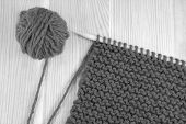 Wool And Garter Stitch On Knitting Needle