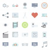 Video Flat Icons Set