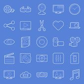 Video Thin Lines Icons Set