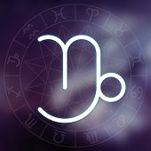 Zodiac Sign - Capricorn. White Thin Simple Line Astrological Symbol On Blurry Abstract Background
