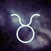 Zodiac Sign - Taurus. White Thin Simple Line Astrological Symbol On Blurry Abstract Space Background