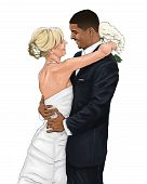Interracial Bride and Groom Vector Drawing