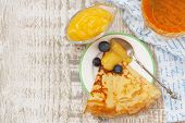 Crepes With Blueberries And Lemon Sauce Top Viwe