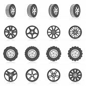 stock photo of auto garage  - Tire car auto montage service black silhouette icons set isolated vector illustration - JPG