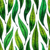 Seamless Pattern With Watercolor Leaves.