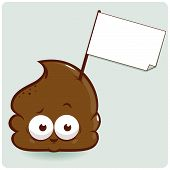 Cartoon Poop with sign