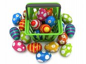 Easter Eggs In Shopping Basket