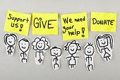 pic of organ  - Support give help donate words concept with sketch people - JPG
