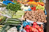 Organic fruits and vegetables on farmers market