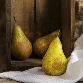Pears In Rustic Kitchen Setting With Wooden Box And Hessian Sack
