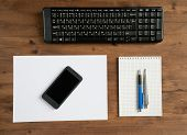 keyboard, smartphone and office supplies