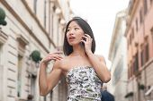 Beautiful Asian Woman Using Mobile Phone Spring Urban Outdoor