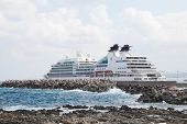 Large Cruise Ship At The Port Of Rethymno On The Island Of Crete, Greece