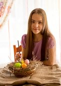 Girl Preparing For Easter And Painting Eggs