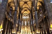 stock photo of church interior  - Interior of Santa Maria del Mar the most beautiful gothic church in Barcelona - JPG