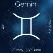 Zodiac Sign - Gemini. White Line Astrological Symbol With Caption, Dates, Planet And Element