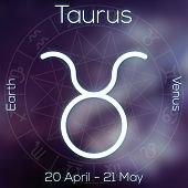 Zodiac Sign - Taurus. White Line Astrological Symbol With Caption, Dates, Planet And Element
