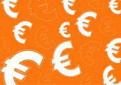 Euro Money Icon On Orange Background