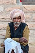 Jodhpur, India - January 2, 2015: Unidentified Indian Senior Man In The Jodhpur Village