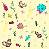 picture of stick-bugs  - Hand drawn seamless pattern with insects - JPG