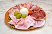 Bufala Cheese With Diferent Ham